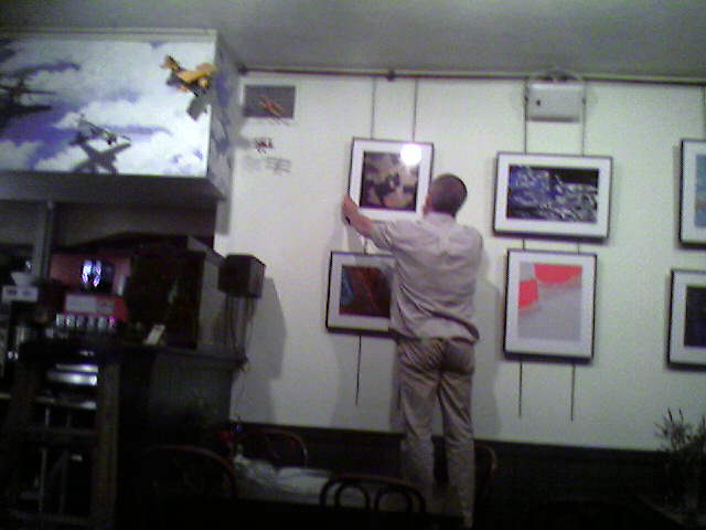 Chris hanging his show