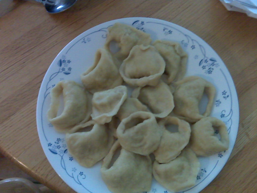 The first batch of kreplach, plated